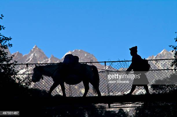 A villager crosses a suspension bridge between mountains with his pack mule.