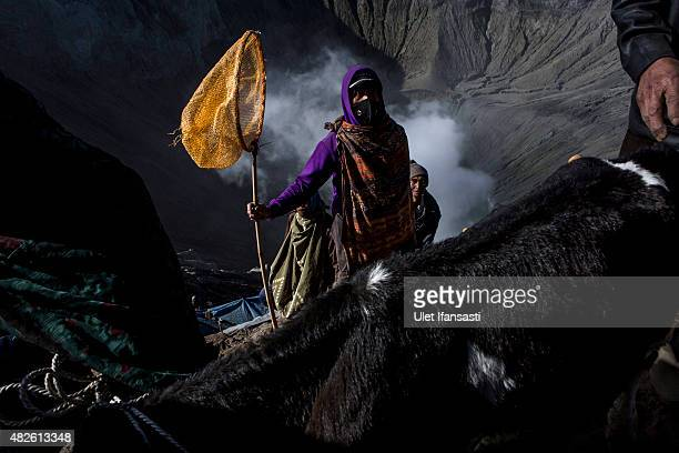 A villager holds a net as they waits to catch offerings thrown by Hindu worshippers during the Yadnya Kasada Festival at crater of Mount Bromo on...
