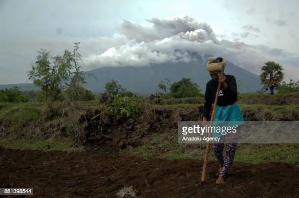 A villager works in a field with as the Mount Agung volcano erupts in Kubu Bali Indonesia on November 29 2017 The volcano with a deadly history on...