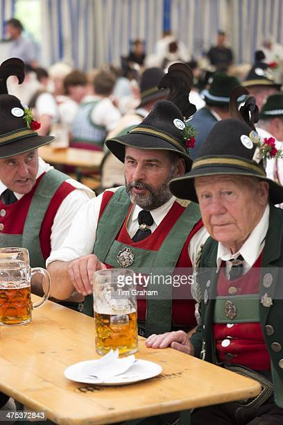 Villagers at beer festival in the village of Klais in Bavaria Germany