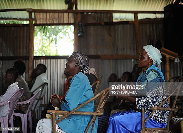 Villagers attend morning church service in the village of Kogelo in Siaya county on July 26 2015 Obama wraps up his twoday visit July 26 evening when...