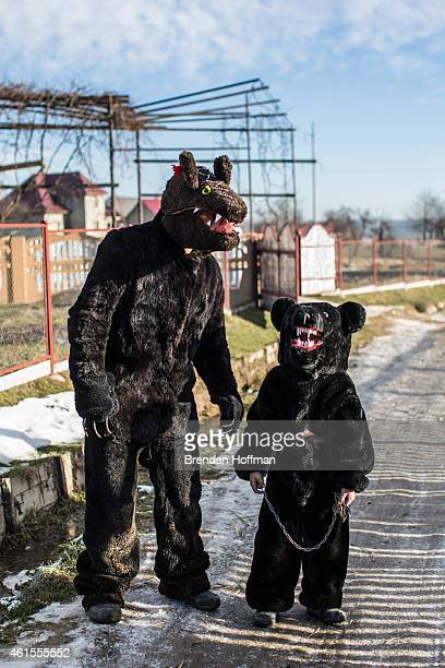 Villagers dress up in bear costumes as they celebrate the winter festival of Malanka on January 14 2015 in Krasnoilsk Ukraine The holiday which...