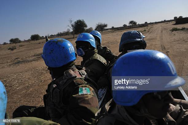 Villagers from Shawa village of the Zaghawa tribe live in a makeshift camp a few hundred meters from the UNAMID base in Labado outside of Muhajariya...