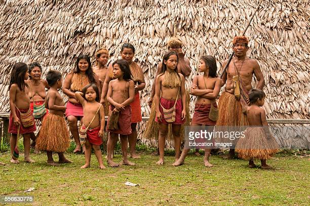 Villagers in Amazon village Peru
