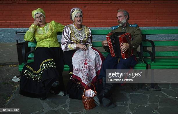 Villagers in traditional Cossack dress perform in the village of Starocherkasskaya during a media tour of Russia 2018 FIFA World Cup venues on July...