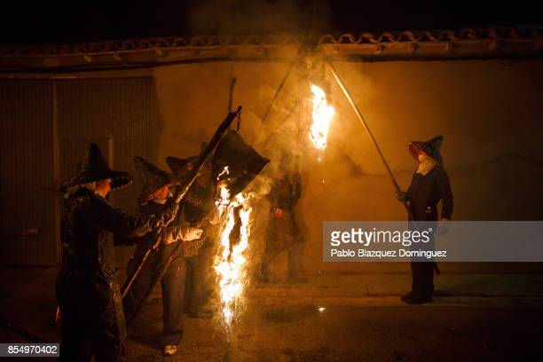 Villagers light torches made of wine skins during El Vitor Civic procession on September 27 2017 in Mayorga Valladolid province Spain Every 27 of...