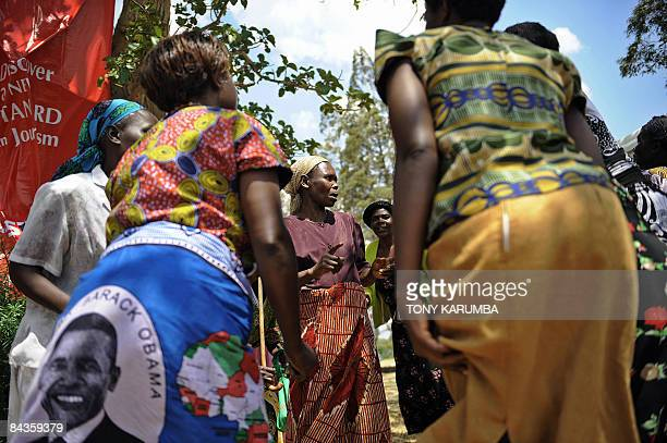 Villagers of Nyang'oma in Kogelo sing and dance to welcome tourists on January 19 2009 during festivities on the eve of the inauguration of Barack...