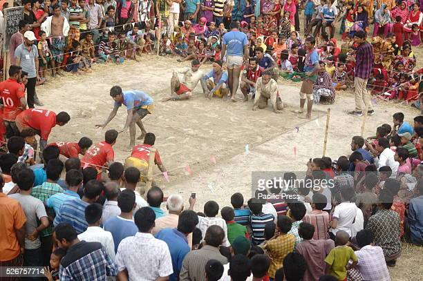 Villagers play Kabaddi in Dhamoirhat Upazila where the National Game Kabaddi is losing popularity nowadays for other games like Football or cricket