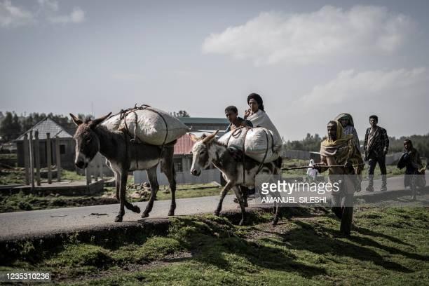 Villagers walk along their donkeys in Dabat, 70 kilometres Northeast of the city of Gondar, Ethiopia, on September 17, 2021.