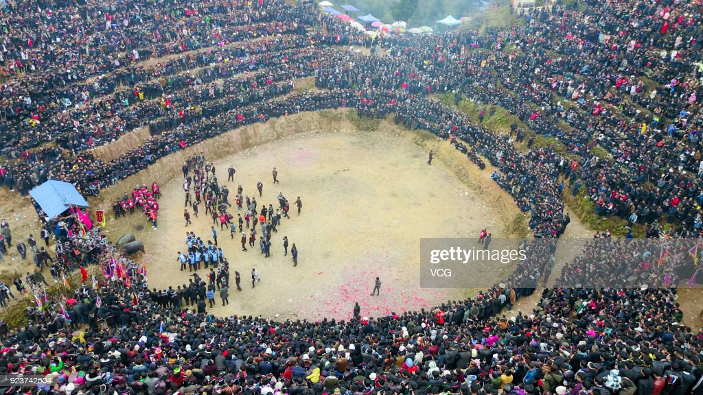 Villagers Watch Bullfight In Qiandongnan