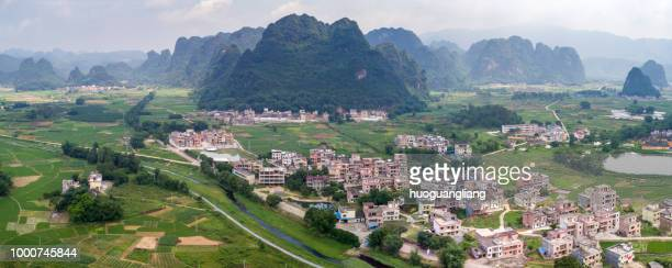 Qingyuan, China - May 18, 2018: villages by the mountains