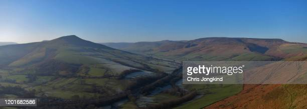 villages covered in frost in a valley between gentle hills - sheffield stock pictures, royalty-free photos & images