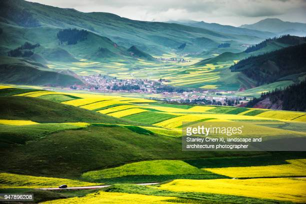 villages in qilian mountain - gansu province stock pictures, royalty-free photos & images