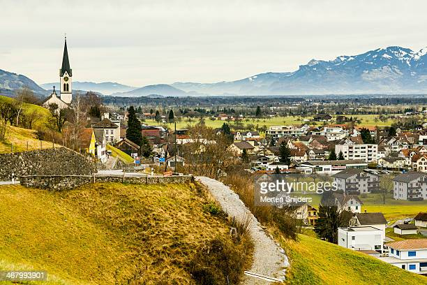 villages in rheintal - vaduz stock pictures, royalty-free photos & images