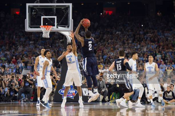 Villanova celebrates after Kris Jenkins game winning shot against the University of North Carolina during the NCAA Division I Men's Final Four held...