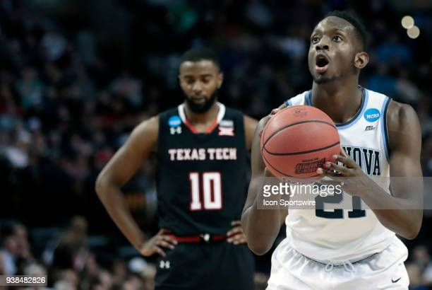 Villanova forward Dhamir CosbyRoundtree at the line during an Elite Eight matchup between the Villanova Wildcats and the Texas Tech Red Raiders on...