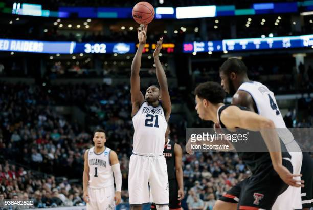 Villanova forward Dhamir CosbyRoundtree launches a free throw during an Elite Eight matchup between the Villanova Wildcats and the Texas Tech Red...