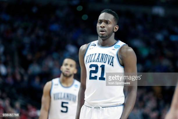 Villanova forward Dhamir CosbyRoundtree waits at the line during an Elite Eight matchup between the Villanova Wildcats and the Texas Tech Red Raiders...