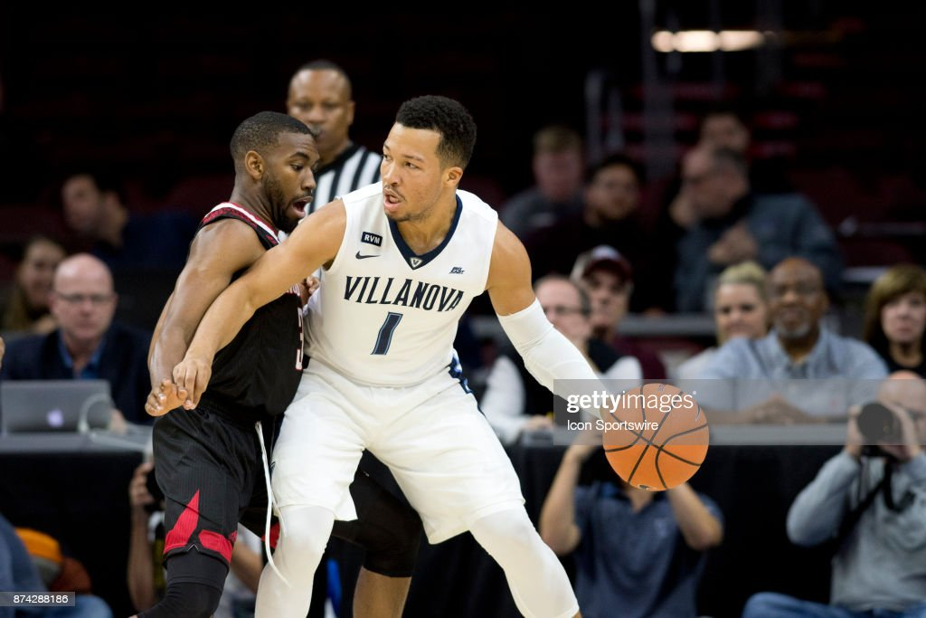 Villanova Guard Jalen Brunson (1) backs down Nicholls State Guard Lafayette Rutledge (3) in the first half during the game between the Nicholls State Colonels and Villanova Wildcats on November 14, 2017 at Wells Fargo Center in Philadelphia, PA.