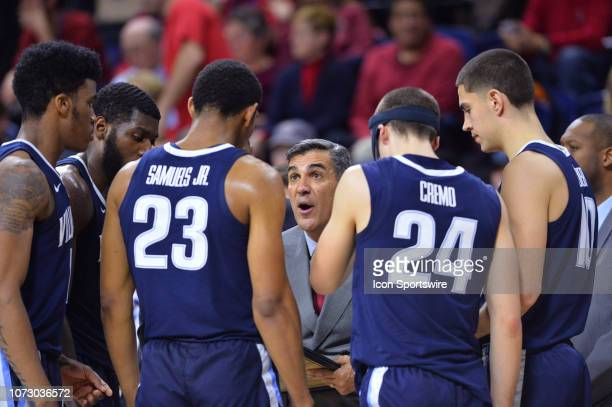 Villanova Head Coach Jay Wright talks with his team during a timeout in the second half during the game between the Penn Quakers and Villanova...
