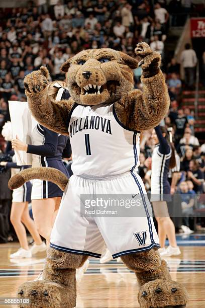 Villanova University Wildcats mascot Wil D Cat encourages the crowd against the University of Louisville Cardinals at the Wachovia Center on January...