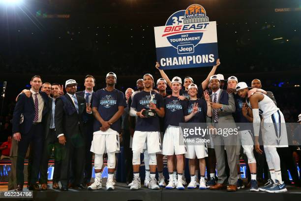 Villanova Wildcats celebrate after defeating the Creighton Bluejays to win the Big East Basketball Tournament Championship Game at Madison Square...