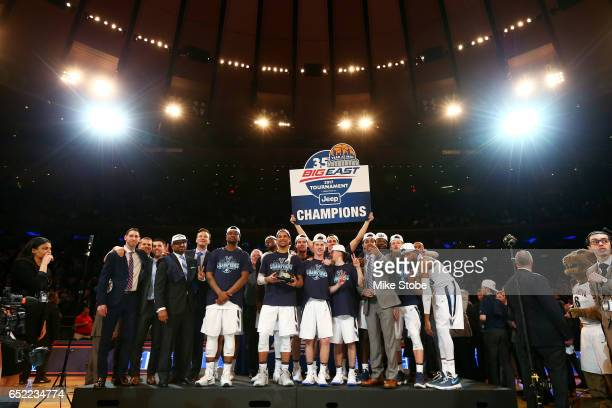 Villanova Wildcats celebrate after defeating the Creighton Bluejays to win the Big East Basketball Tournament - Championship Game at Madison Square...