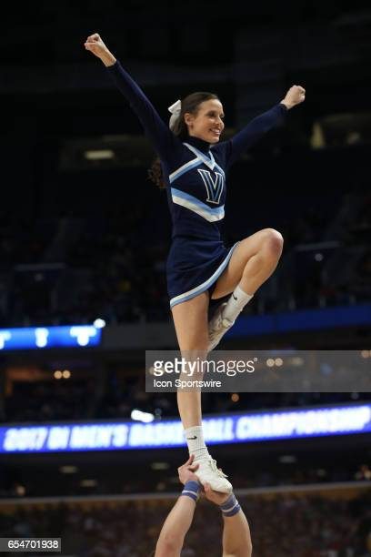 Villanova Wildcats cheerleaders cheer during the NCAA Division 1 Men's Basketball Championship game between Mount St Mary's Mountaineers and...
