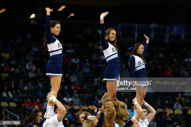 Villanova Wildcats cheerleaders perform against the Radford Highlanders during the first half of the game in the first round of the 2018 NCAA Men's...