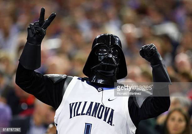 Villanova Wildcats fan dressed as Star Wars character Darth Vader cheers in the second half during the NCAA Men's Final Four Semifinal against the...