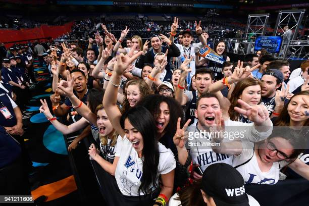 Villanova Wildcats fans celebrate after the 2018 NCAA Photos via Getty Imagess via Getty Images Men's Final Four National Championship game against...