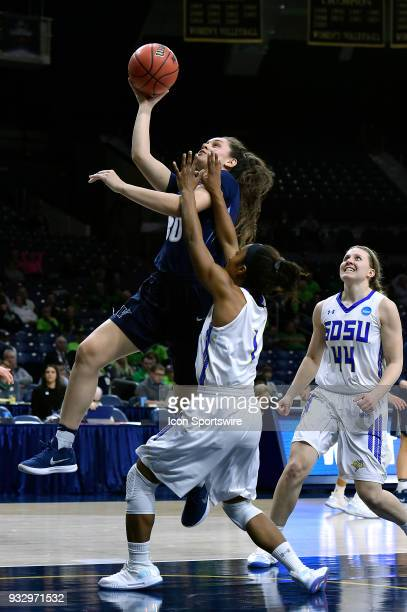 Villanova Wildcats forward Mary Gedaka shoots over South Dakota State Jackrabbits guard Alexis Alexander during the first round of the Division I...