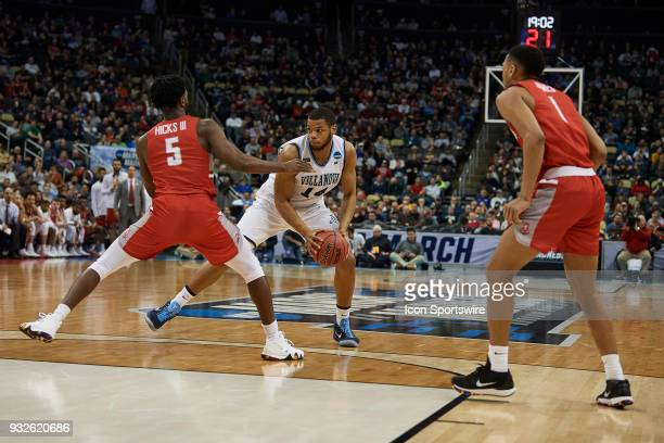 Villanova Wildcats forward Omari Spellman tries to drive around Radford Highlanders guard Donald Hicks during the second half of the first round of...