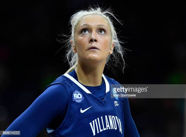 Villanova Wildcats guard Alex Louin looks up at the clock against Cal State Northridge Matadors during the first round of the Division I Women's...