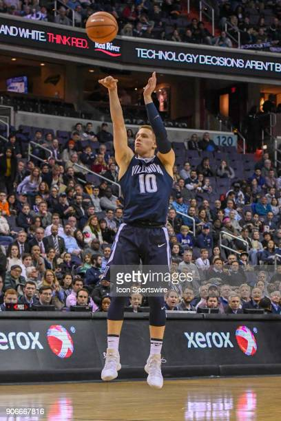 Villanova Wildcats guard Donte DiVincenzo scores an uncontested three point shot on January 17 at the Capital One Arena in Washington DC The...