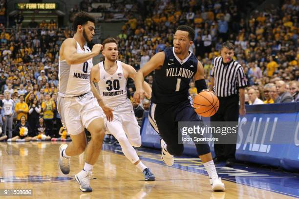 Villanova Wildcats guard Jalen Brunson dribbles during a game between the Marquette Golden Eagles and the Villanova Wildcats on January 28 2018 at...