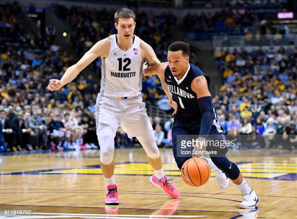 Villanova Wildcats guard Jalen Brunson drives on Marquette Golden Eagles center Matt Heldt during the game between the Marquette Golden Eagles and...