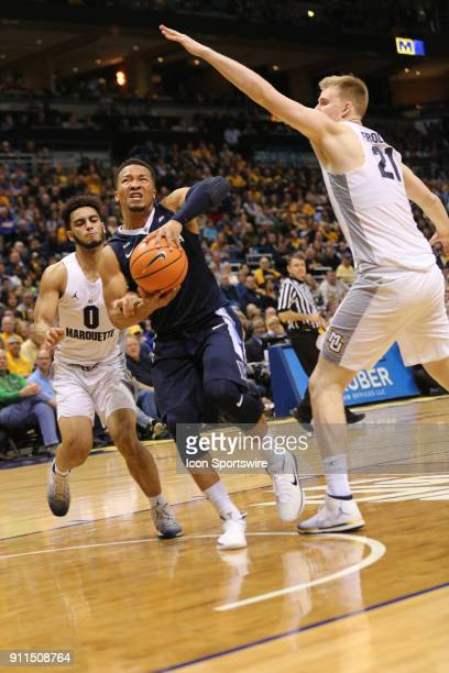 Villanova Wildcats guard Jalen Brunson drives the lane during a game between the Marquette Golden Eagles and the Villanova Wildcats on January 28...