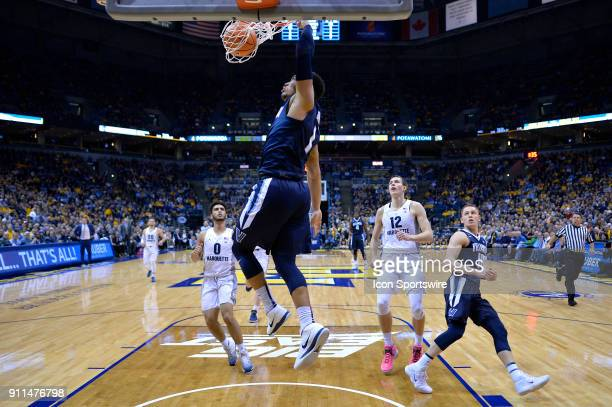Villanova Wildcats guard Jalen Brunson dunks the ball during the game between the Marquette Golden Eagles and the Villanova Wildcats on January 28...
