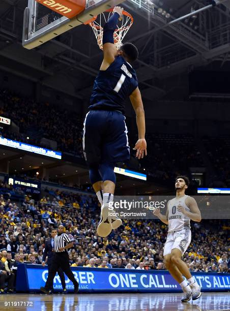 Villanova Wildcats guard Jalen Brunson dunks the basketball during the game between the Marquette Golden Eagles and the Villanova Wildcats on January...