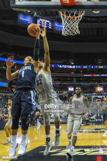 Villanova Wildcats guard Jalen Brunson in action against Georgetown Hoyas guard Kaleb Johnson on January 17 at the Capital One Arena in Washington DC...