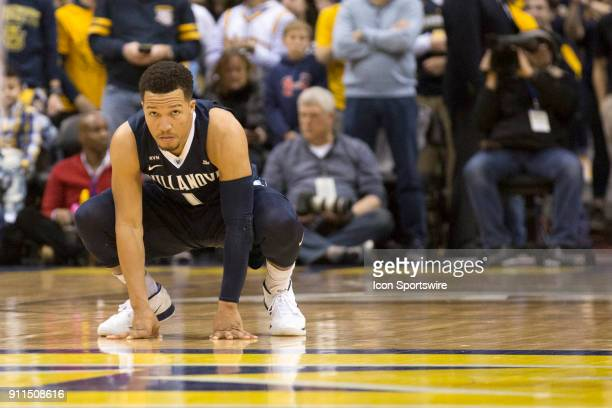 Villanova Wildcats guard Jalen Brunson prepares during a game between the Marquette Golden Eagles and the Villanova Wildcats on January 28 2018 at...