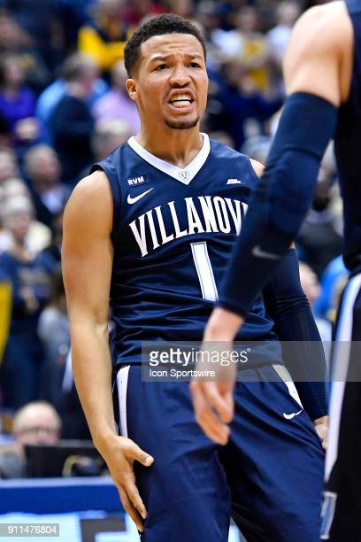 Villanova Wildcats guard Jalen Brunson reacts after scoring during the game between the Marquette Golden Eagles and the Villanova Wildcats on January...