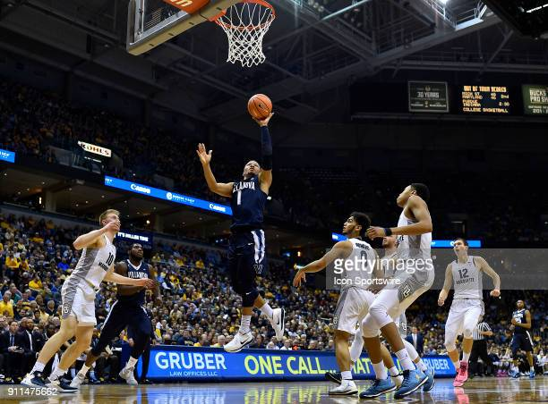 Villanova Wildcats guard Jalen Brunson shoots a layup during the game between the Marquette Golden Eagles and the Villanova Wildcats on January 28...