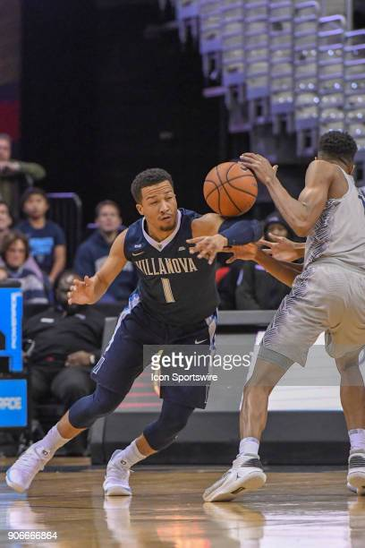 Villanova Wildcats guard Jalen Brunson steals the ball from Georgetown Hoyas forward Jamorko Pickett in action on January 17 at the Capital One Arena...