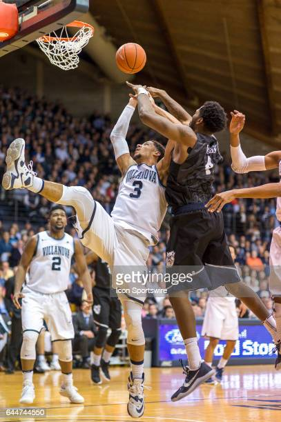 Villanova Wildcats guard Josh Hart tries for the block during the basketball game between the Butler Bulldogs and the Villanova Wildcats on February...