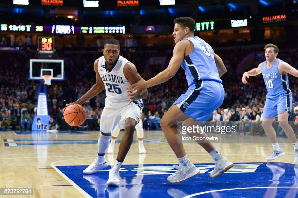 Villanova Wildcats guard Mikal Bridges determined to get past Columbia Lions forward Myles Hanson during the college basketball game between the...