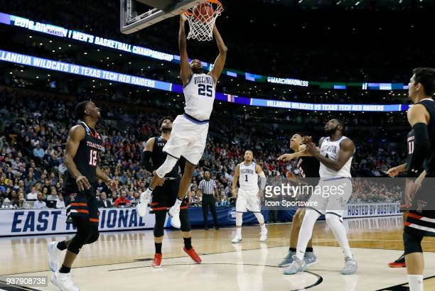 Villanova Wildcats guard Mikal Bridges jams the ball for two points during an Elite Eight matchup between the Villanova Wildcats and the Texas Tech...