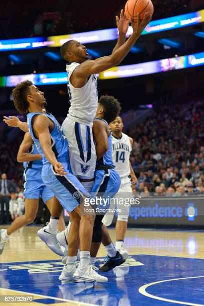 Villanova Wildcats guard Mikal Bridges lofts his shot up the middle during the college basketball game between the Columbia Lions and the Villanova...