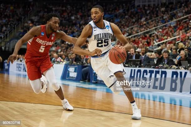 Villanova Wildcats guard Mikal Bridges tries to drive around Radford Highlanders guard Donald Hicks during the second half of the first round of the...